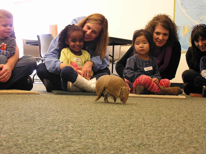 kids with armadillo