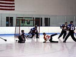 people playing broomball
